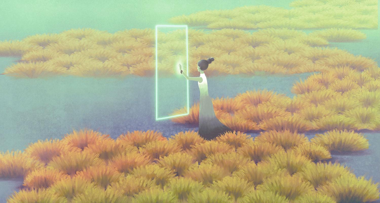 Girl looking through door